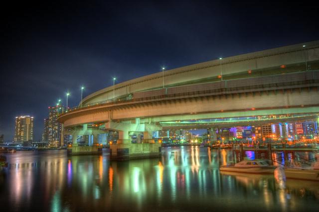 HDR(ハイダイナミックレンジ)レインボーブリッジ・ビル・船@芝浦東京bridge004.jpg