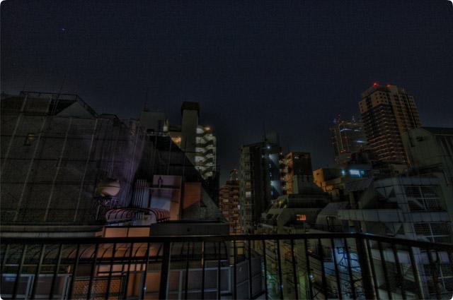 HDR(ハイダイナミックレンジ)冊越夜景@屋上building09.jpg