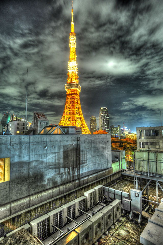 HDR(ハイダイナミックレンジ)東京タワー@某ビル屋上