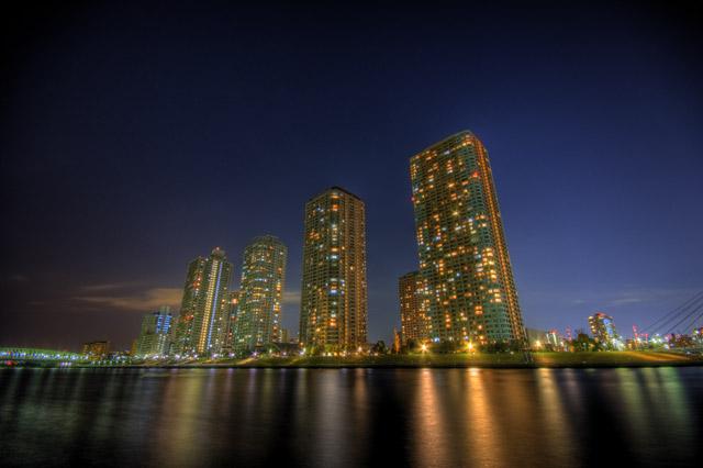 HDR(ハイダイナミックレンジ)夜の越中島公園その1@月島東京building40.jpg