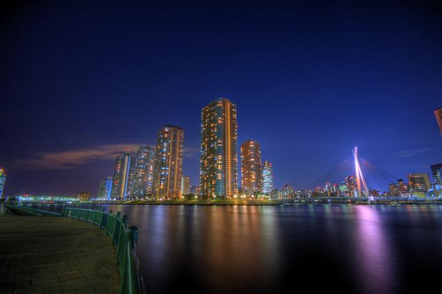 HDR(ハイダイナミックレンジ)越中島公園の夜景@月島building42.jpg