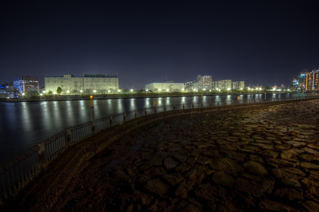 HDR(ハイダイナミックレンジ)夜の越中島公園その2@月島東京building44.jpg