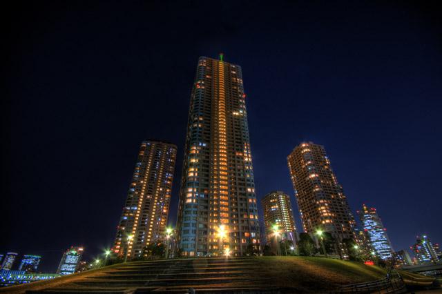 HDR(ハイダイナミックレンジ)夜の越中島公園その3@月島東京building45.jpg