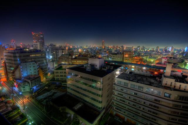 HDR(ハイダイナミックレンジ)巣鴨警察署横のマンションから夜景@巣鴨building54.jpg.jpg