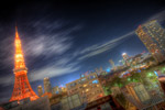 東京タワーを望む夜景@赤羽橋
