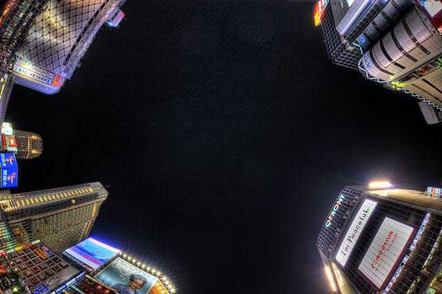HDR(ハイダイナミックレンジ)渋谷の中心で魚眼を差す