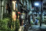 ハイダイナミックレンジ写真 - 梅雨の夜の@西日暮里
