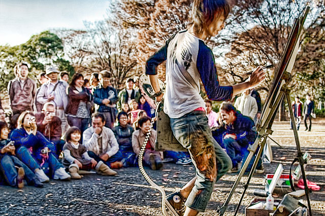 HDR(ハイダイナミックレンジ)タテノリ絵描き@代々木公園