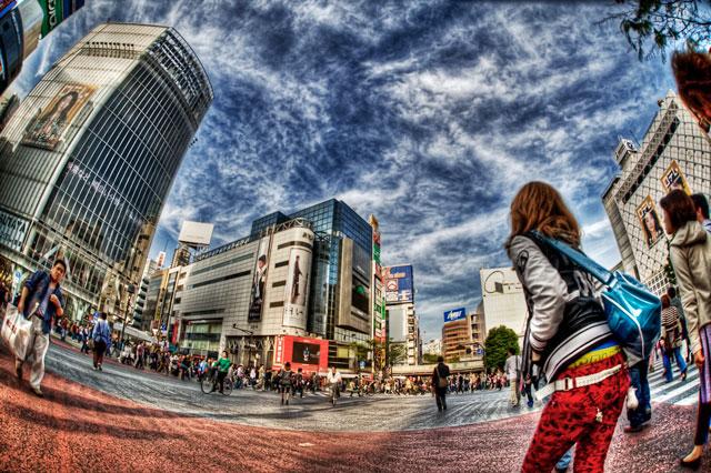 スクランブル交差点、青!@渋谷