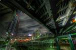 ハイダイナミックレンジ写真 - 線路と夜景とラブホテル群@池袋