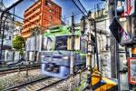 ハイダイナミックレンジ写真 - 動く電車をHDR@神泉駅