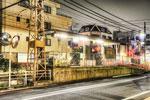 ハイダイナミックレンジ写真 - 深夜の都電荒川線荒川遊園地前駅