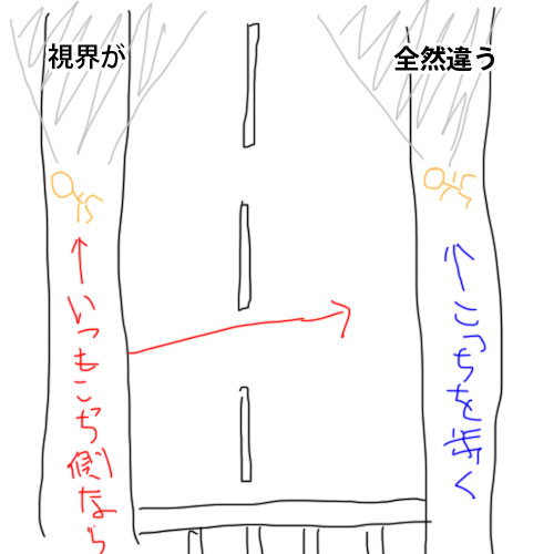 道路の反対側を歩く図