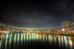 レインボーブリッジの光と水面@芝浦東京