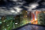 ハイダイナミックレンジ写真 - 屋上のさらに上の給水塔夜景@大塚