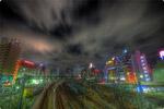 ハイダイナミックレンジ写真 - 線路の夜景@池袋